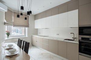 Кухня Атриа Тауп/Белый глянец - Мебельная фабрика «Артис»