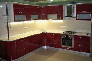 Кухня бардовая угловая - Мебельная фабрика «МЭК»