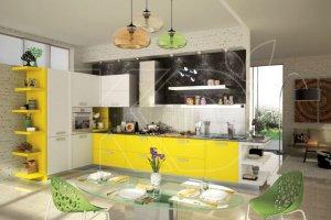 Кухня Фаворит-1 с желтым фасадом - Мебельная фабрика «Кухонный двор»
