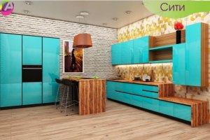 Кухня голубая глянцевая Сити - Мебельная фабрика «Акварель»