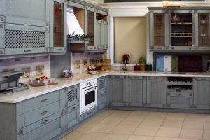 Кухня голубая угловая - Мебельная фабрика «Массив»