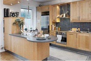 Кухня из светлой древесины в скандинавском стиле Арт 019 - Мебельная фабрика «Арт-Тек мебель»