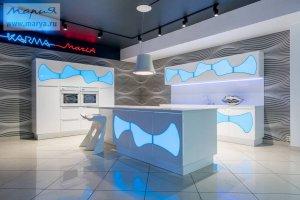 Кухня Karma  в цвете  Белый/подводно-голубой  - Мебельная фабрика «Мария»