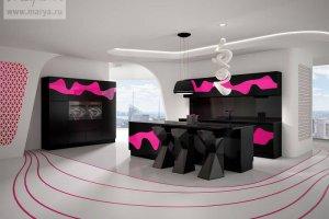 Кухня Karma в цвете Черный/фуксия - Мебельная фабрика «Мария»
