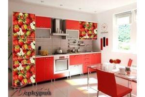 Кухня красная с фотопечатью Виктория - Мебельная фабрика «Меркурий»