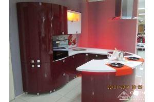 Кухня круглая красная ОД Волна 02 - Мебельная фабрика «ОЛИМП»