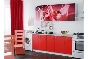 Кухня ЛДСП фотопечать Клубника - Мебельная фабрика «Милайн»