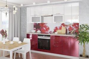 Кухня Марта прямая белая бордовая - Мебельная фабрика «Веста»