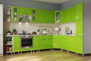 Кухня МДФ Пелагея Лайм 3089 - Мебельная фабрика «Гермес»