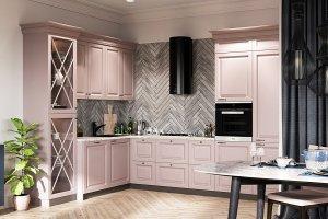 Кухня МДФ розовая Roza - Мебельная фабрика «AlvaLINE»