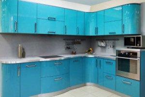 Кухня МДФ в эмали голубая - Мебельная фабрика «Омега»
