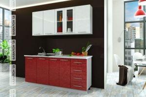 Кухня Олива 1,8 м (белый+гранат) - Мебельная фабрика «Вавилон 58»