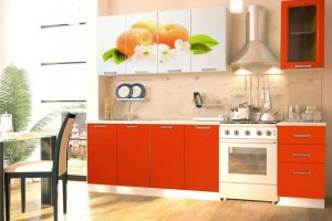 Кухня с фотопечатными фасадами Персик - Мебельная фабрика «Д.А.Р. Мебель»