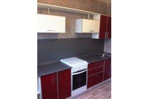 Кухня пластик вишня+белый глянец - Мебельная фабрика «Апрель»