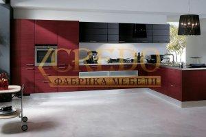 Кухня ПЛЕНКА ПВХ черный глянец/барбарис - Мебельная фабрика «Кредо», г. Ульяновск