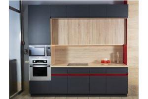Кухня прямая Акцент Редлайн - Мебельная фабрика «Хомма»
