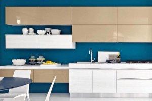 Кухня прямая акрил песочный al16 - Мебельная фабрика «ЮММА»