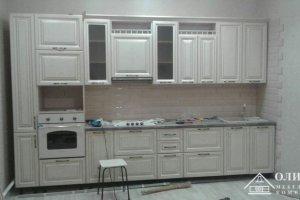 Кухня прямая белая Клеопатра 09 - Мебельная фабрика «ОЛИМП»