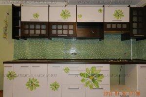 Кухня прямая цветочный-венге - Мебельная фабрика «SamSam-мебель»