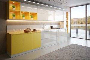 Кухня прямая Галле Желтый - Мебельная фабрика «Zuchel Kuche»