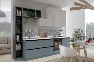 Кухня прямая со стеллажом Сити - Мебельная фабрика «Эстель»