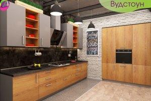 Кухня прямая Вудстоун - Мебельная фабрика «Акварель»