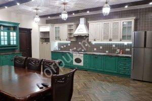 Кухня прямая зеленая Экошпон - Мебельная фабрика «Корпус»