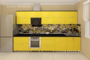 Кухня прямая желтая 4 - Мебельная фабрика «Лама»