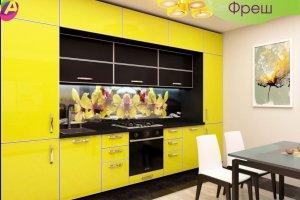 Кухня прямая желтая Фреш - Мебельная фабрика «Акварель»