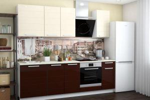 Кухня Римини кофе -ваниль глянец МДФ - Мебельная фабрика «Мебель плюс»