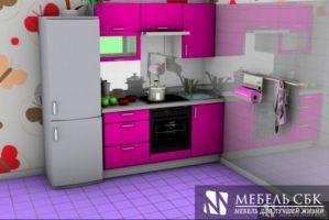 Кухня розовая прямая Валерия - Мебельная фабрика «Мебель СБК»