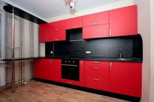 Кухня с барной стойкой Красный восход - Мебельная фабрика «MaxiКухни» г. Санкт-Петербург