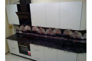 Кухня с фасадом МДФ ПВХ белый металлик - Мебельная фабрика «Мебель Хаус»