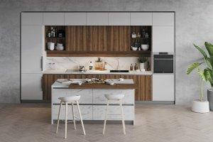 Кухня с островом Carrara Bianco - Мебельная фабрика «Cucina»