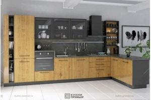 Кухня с полуостровом Оливия-Айрон - Мебельная фабрика «Кухни Премьер»