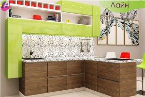 Кухня современная с полуостровом Лайн - Мебельная фабрика «Акварель»