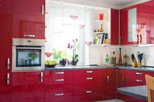 Кухня Угловая акрил красный alt2 - Мебельная фабрика «Вся Мебель»