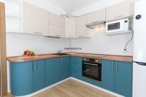 Кухня угловая Бирюзовый минимализм - Мебельная фабрика «MaxiКухни»