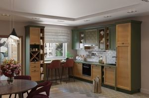 Кухня угловая Диана грин Ника 023Д - Мебельная фабрика «GRETA»