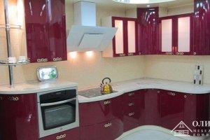 Кухня угловая красная ОД Волна 04 - Мебельная фабрика «ОЛИМП»