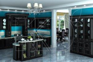 Кухня Виконт черный из массива бука - Мебельная фабрика «Кухонный двор»