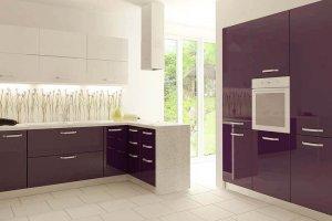 Кухонный гарнитур акрил баклажан alt12uv - Мебельная фабрика «Вся Мебель»