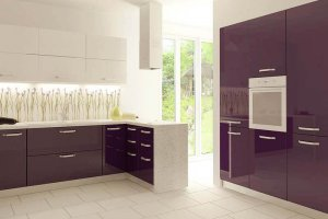 Кухонный гарнитур акрил баклажан alt12uv - Мебельная фабрика «ЮММА»
