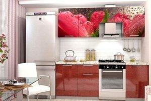 Кухонный гарнитур с фотопечатью Тюльпан - Мебельная фабрика «Профи»