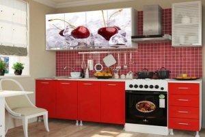 Кухонный гарнитур с фотопечатью Вишня 2 - Мебельная фабрика «Профи»