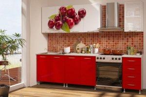Кухонный гарнитур с фотопечатью Вишня 3 - Мебельная фабрика «Профи»