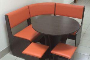 Кухонный уголок Лотос, венге темный, к/з оранжевый - Мебельная фабрика «Миссия»