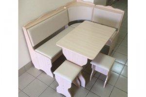 Кухонный уголок Миссия, дуб выбеленный, к/з молочный - Мебельная фабрика «Миссия»