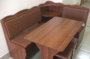 Кухонный уголок Миссия с полкой, орех, к/з коричневый - Мебельная фабрика «Миссия»