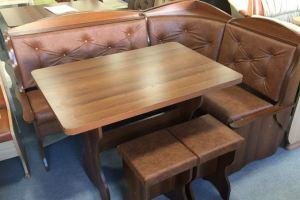 Кухонный уголок Романтик, орех, к/з коричневый - Мебельная фабрика «Миссия»